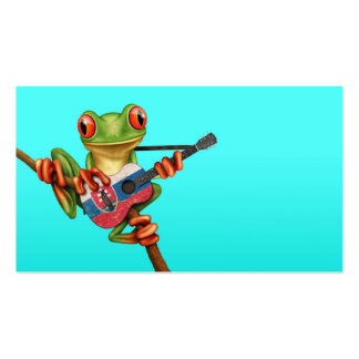 Tree Frog Playing Slovakian Flag Guitar Blue Pack Of Standard Business Cards
