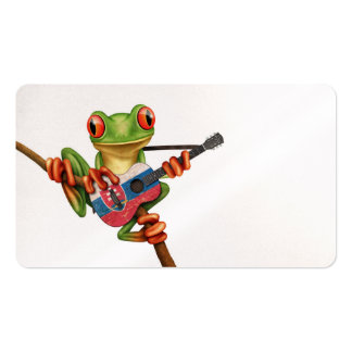 Tree Frog Playing Slovakian Flag Guitar White Pack Of Standard Business Cards