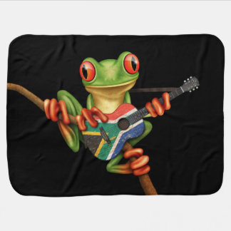 Tree Frog Playing South African Flag Guitar Black Baby Blankets