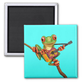 Tree Frog Playing Sri Lanka Flag Guitar Blue Magnet