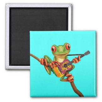 Tree Frog Playing Sri Lanka Flag Guitar Blue Magnets