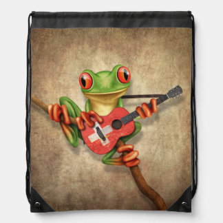 Tree Frog Playing Swiss Flag Guitar Drawstring Bag