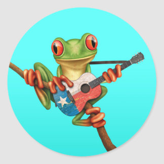 Tree Frog Playing Texas Flag Guitar Blue Round Stickers