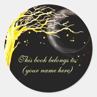 Tree, glowing with fireflies round sticker