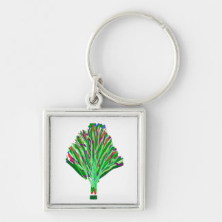 TREE Green Plant Artistic Party Giveaway Novelty Silver-Colored Square Key Ring