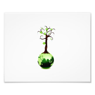 tree growing out of green globe ecology.png photo print