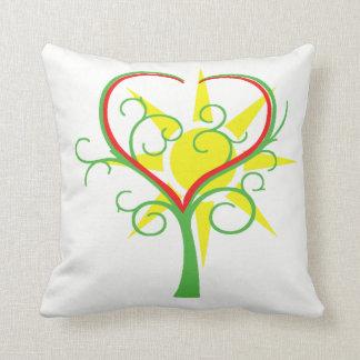 Tree, heart and sun cushion