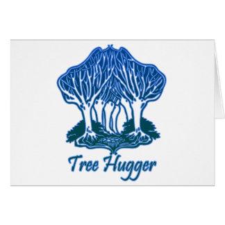 Tree Hugger Blue Trees Nature Environmentalist Greeting Card