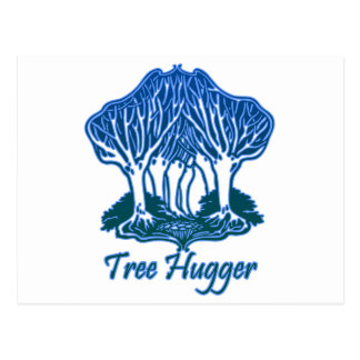 Tree Hugger Blue Trees Nature Environmentalist Postcard