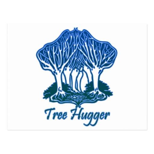 Tree Hugger Blue Trees Nature Environmentalist Post Card
