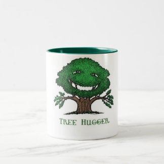 tree hugger by nicola Two-Tone coffee mug