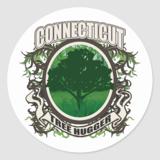 Tree Hugger Connecticut Round Stickers