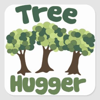 Tree Hugger for Earth Day Square Sticker