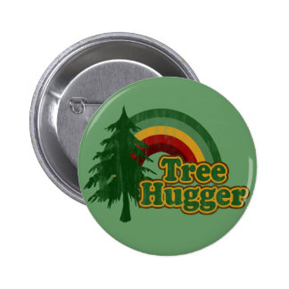 Tree Hugger Hippie Rainbow 6 Cm Round Badge