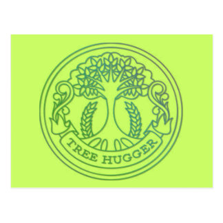 Tree hugger hippy badge postcards