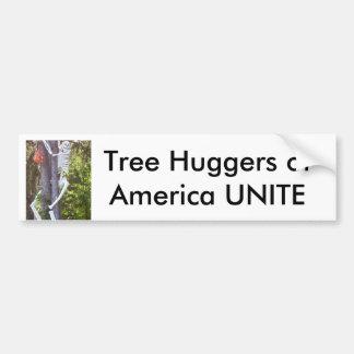 tree hugger, Tree Huggers of America UNITE Car Bumper Sticker