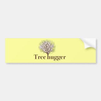 Tree Hugger w/ tree illustration Bumper Sticker