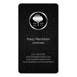 Tree Icon Black Grunge Landscaper Business Card