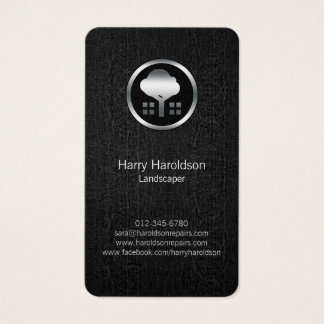 Tree Icon Black Grunge Landscaper Business Card