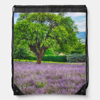 Tree in Lavender Field, France Drawstring Bag