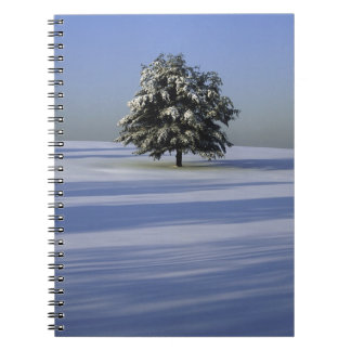 Tree in snow covered landscape notebook