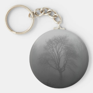 Tree in the fog basic round button key ring