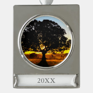 Tree in the Morning Silver Plated Banner Ornament