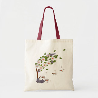 Tree in The Storm / Tile Art Budget Tote Bag