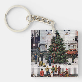 Tree in Town Square Double-Sided Square Acrylic Key Ring