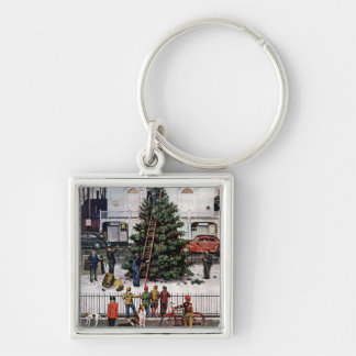 Tree in Town Square Silver-Colored Square Key Ring