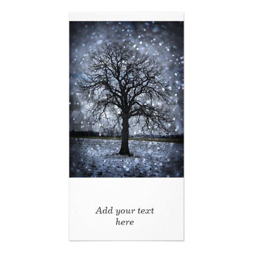 Tree in winter field photo card template
