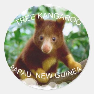 Tree kangaroo round sticker