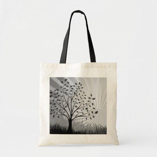 Tree Leaves Grass Silhouette & Sunburst - B&W Bag
