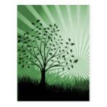 Tree Leaves Grass Silhouette & Sunburst - Green