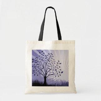 Tree Leaves Grass Silhouette & Sunburst - Indigo Bag