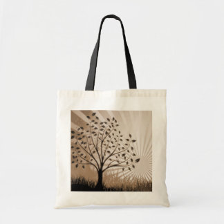 Tree Leaves Grass Silhouette & Sunburst - Sepia Canvas Bags