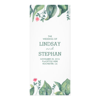 Tree Leaves Watercolor Rustic Wedding Programs Full Colour Rack Card