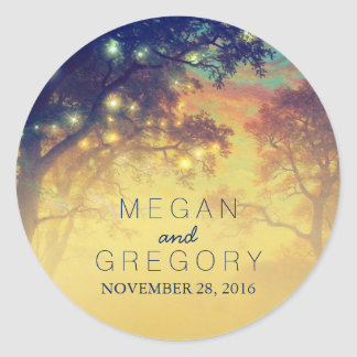 Tree Lights Rustic Wedding Round Sticker