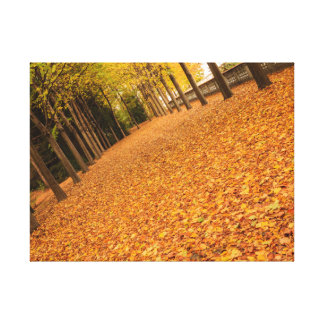 tree-lined avenue with leaves on canvas print