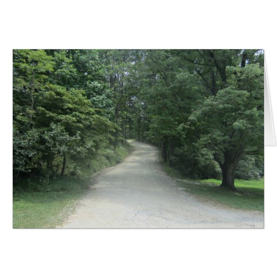 Tree lined path through woods card
