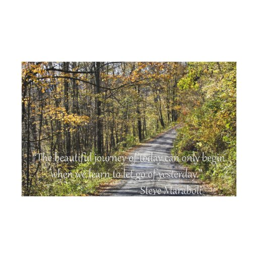 Tree lined road and Maraboli Quote about living Stretched Canvas Print