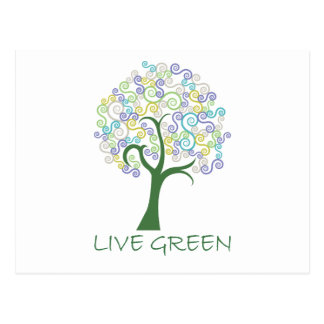 Tree ~ Live Green Colorful Scroll Trees Postcard