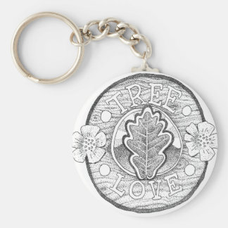 Tree Love Basic Round Button Key Ring