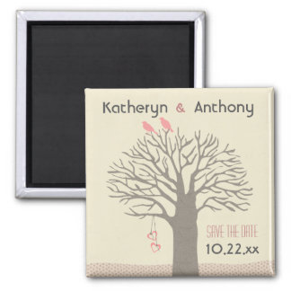 Tree Love Birds Save The Date Magnet Pink