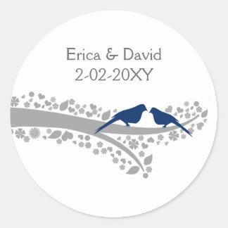 tree navy blue lovebirds wedding favor stickers