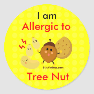 Tree Nut allergy Classic Round Sticker