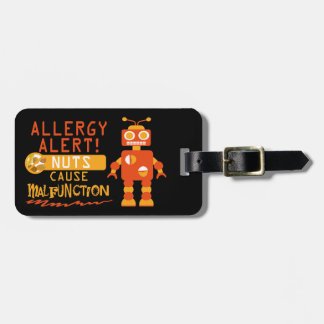 Tree Nut Peanut Personalized Allergy Alert Robot Luggage Tag