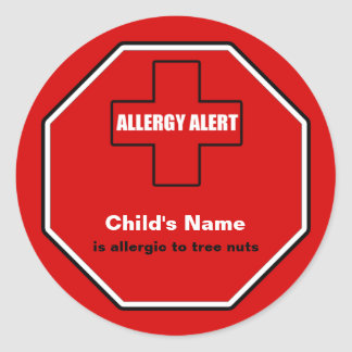 Tree Nuts Allergy Medical Alert Custom Std Sticker