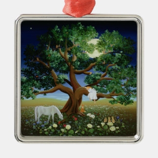 Tree of Dreams 1994 Silver-Colored Square Decoration