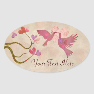Tree of hearts and Love birds Oval Sticker